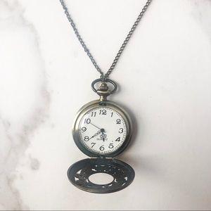 Vintage Bronze Pocket Watch Necklace